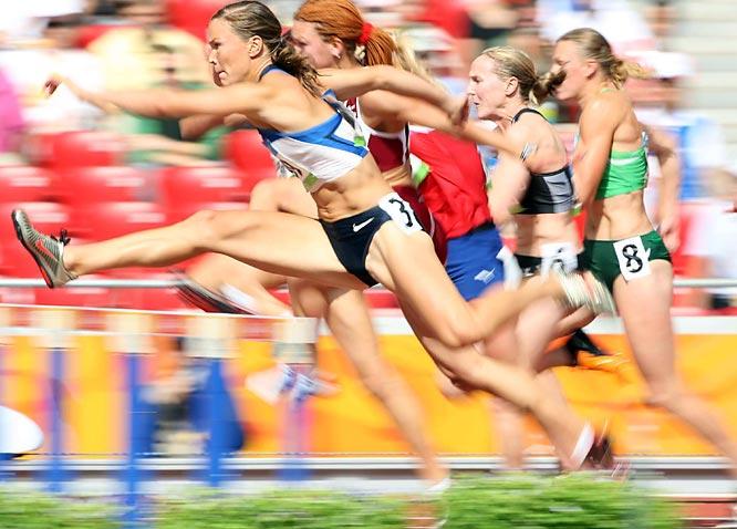 Niina Kelo of Finland during the heptathlon 100m hurdles.