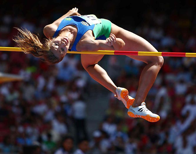 Lucimara Silva of Brazil during the heptathlon high jump.