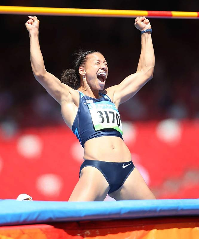 Hyleas Fountain of the U.S. was the top woman in the heptathlon high jump and led the field through four events.