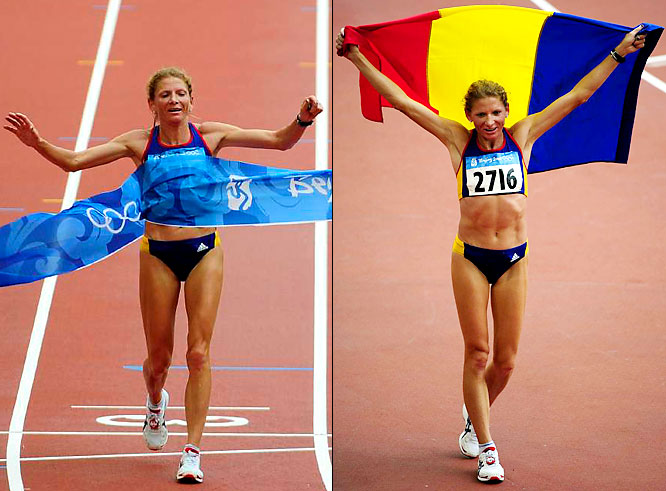 Romania's Constantina Tomescu took the first gold of Day Nine in the women's marathon. The 38-year-old veteran beat a field of 81 competitors to finish the 42.195-kilometer race in a season-best time of 2 hours, 26 minutes, 44 seconds.