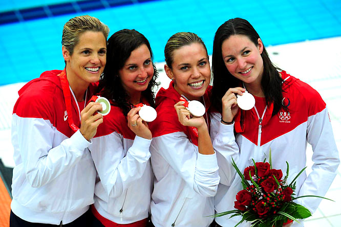 Less than an hour later, Torres came back to anchor the US team in the Women's 4 x 100m Medley Relay, and won another silver. (Left to right) Torres, Rebecca Soni, Natalie Coughlin and Christine Magnuson lost to Australia. Coughlin received her sixth medal of the games, giving her 11 in her career.