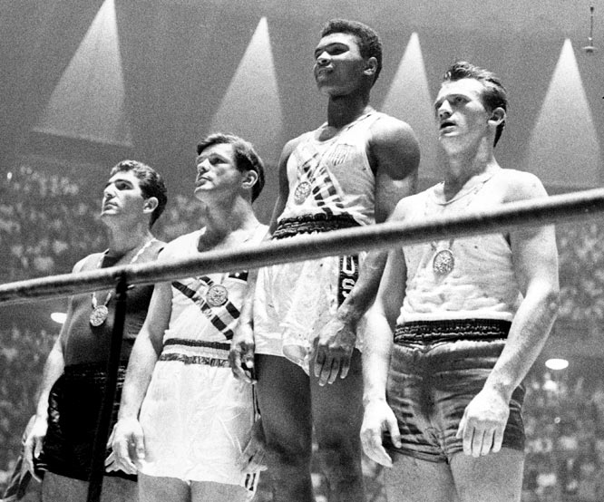 Before he was a professional boxing great, 18-year-old Cassius Clay, as he was called then, became an Olympic light-heavyweight gold medalist at the 1960 Games.