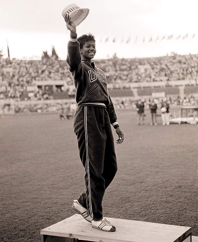 "Credited for raising the status of women's track and field, Rudolph became the first American woman to win three gold medals in the sport at a single Olympics. In 1960, she won the 100- and 200-meters and was a member of the winning U.S. 4x100-meter relay team. In addition to her bronze medal with the relay team in 1956, Rudolph was dubbed the ""fastest woman ever"" after her performance in Rome."