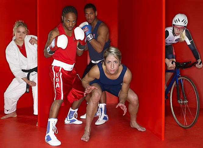 Left to right: Ronda Rousey (judo), Rau'shee Warren (boxing), Demetrius Andrade (boxing), Marci Van Dusen (wrestling), Sarah Hammer (cycling)
