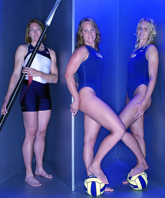 Left to right: Michelle Guerette (rowing); Heather Petri and Betsey Armstrong (water polo)
