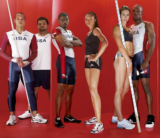 Left to right: Bryan Clay (decathlon), Reese Hoffa (shot put), Terrence Trammell (hurdler), Allyson Felix (sprinter), Jenn Stuczynski (pole vault) and LaShawn Merritt (sprinter).