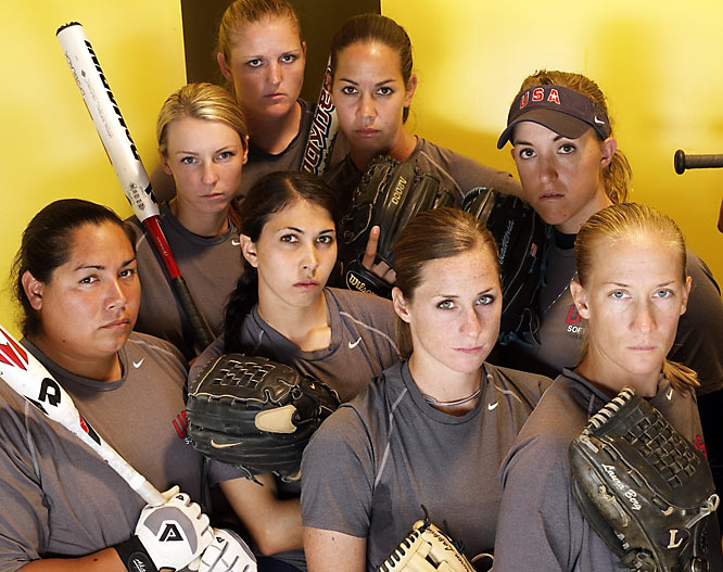 Top row (left to right) Stacey Nuveman, Caitlin Lowe, Cat Osterman and Monica Abbott. Bottom Row (left to right): Crystl Bustos, Andrea Duran, Lauren Lappin and Laura Berg.
