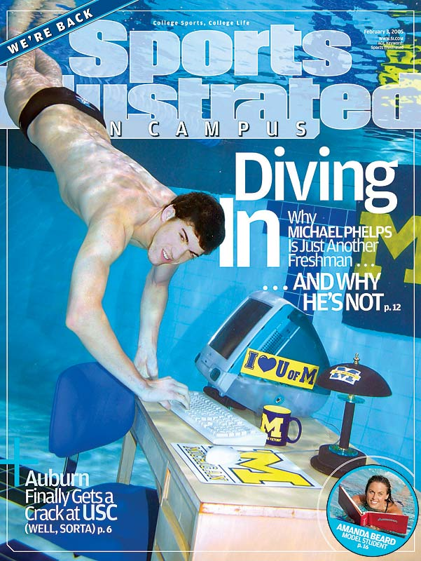 In between Olympiads, Maryland native Michael Phelps was a big fish in the NCAA pools of Ann Arbor, Mich..