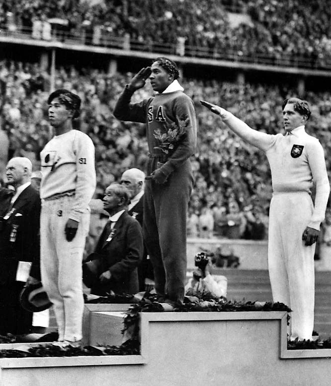 "While trumpeting Aryan supremacy at the Berlin Games, the Nazi dictator summoned German gold medalists Tilly Fleischer and Hans Woellke to his box to congratulate them, but he left the stadium after African-American Cornelius Johnson, a supposed ""non-human"" in the eyes of Hitler, won the high jump. More famously, Jesse Owens later won four track and field golds in another embarrassment for the preening Nazis."