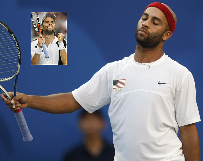 America's James Blake was irate when Fernando Gonzalez didn't come clean after an errant ball deflected off his racket while traveling out of bounds. The umpire missed the call and awarded the critical point to the Chilean, who would eventually prevail 4-6, 7-5, 11-9.