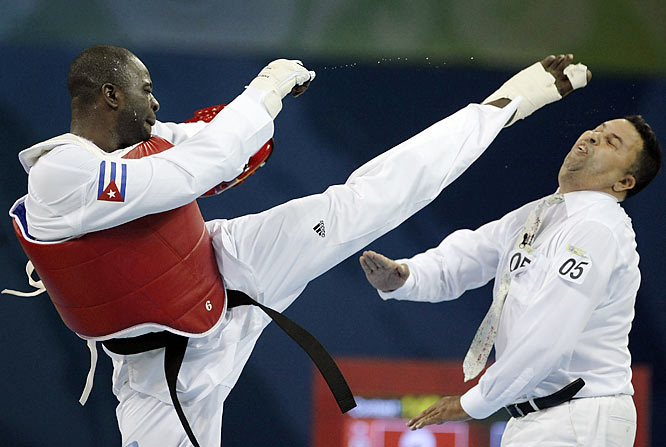 Cuban taekwondo athlete Angel Valodia Matos, a gold medal winner at the Sydney Olympics in 2000, stunned onlookers by kicking a referee after his disqualification in the bronze medal match for taking too much time for an injury. The World Taekwondo Federation banned Matos and his coach for life.