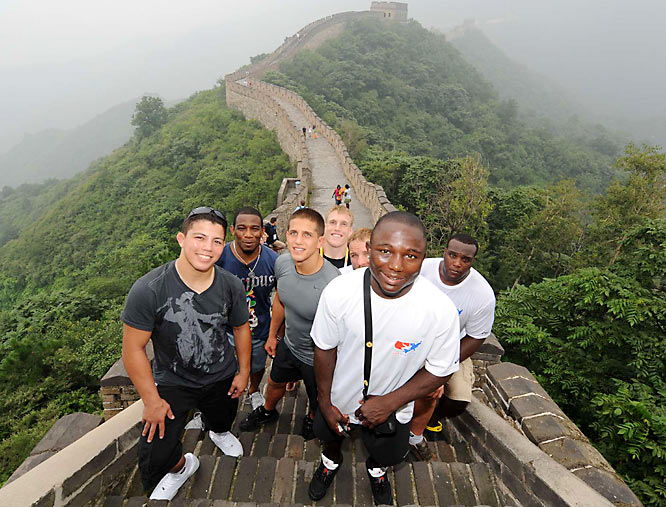 U.S. Wrestlers atop the Great Wall of China.Second from left: TC Dantzler, Jake Deitschler, Adam Wheeler, Brad Vering, Spencer Mango and Dremiel Byers.