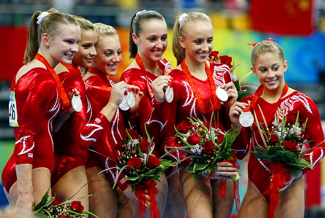 The U.S. gymnastics team (from left to right) Bridget Sloan, Alicia Sacramone, Samantha Peszek, Chellsie Memmel, Nastia Liukin and Shawn Johnson with their silver medals after Wednesday's competition.