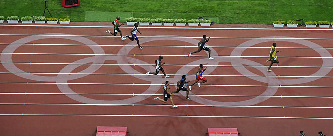Bolt ran full speed all the way through the finish, something he didn't do in the 100.