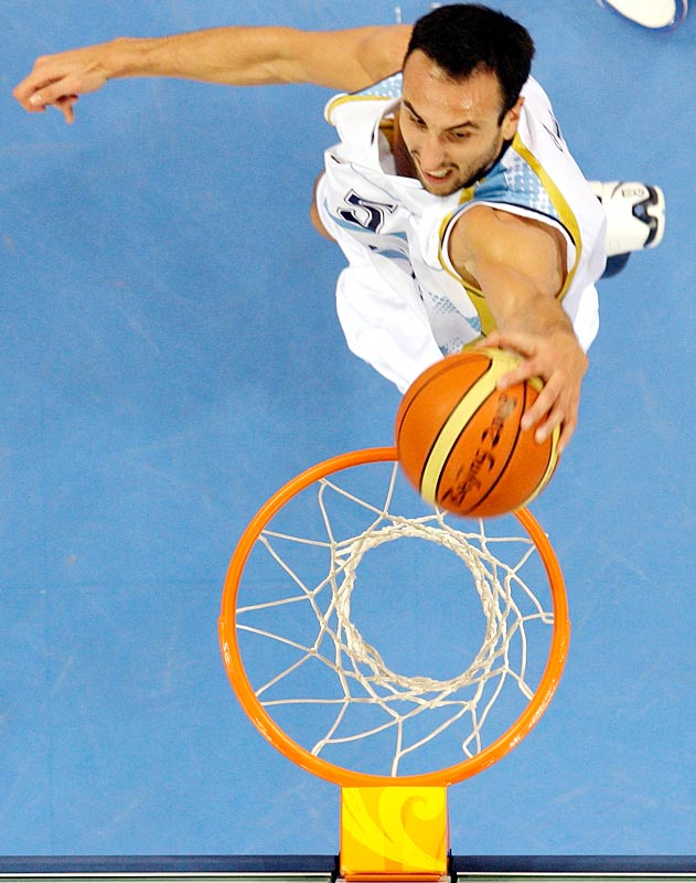 It should have come as no surprise to NBA fans that Ginobili played big in Argentina's 80-78 victory against Greece in the quarterfinals. The San Antonio Spurs' dynamic shooting guard equaled the tournament high with six three-pointers (teammate Carlos Delfino added five of his own) and scored 24 points in 33 minutes as the defending Olympic champions held off a well-respected Greek team.