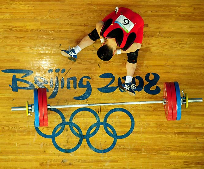 Yong Su Im of North Korea during the medal round of weight lifting.