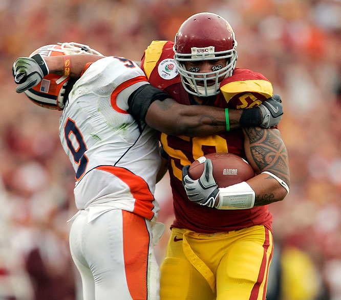 Maualuga may be the biggest hitter in the college game. He is a complete linebacker who excels in coverage and run-stopping. Former Trojan Keith Rivers was the first linebacker taken in the 2008 NFL draft, and Maualuga could duplicate this feat next April.