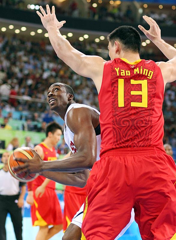 GAME 1 (China): Scored 13 points (on 5-of-10 shooting) and collected only two rebounds in 21 minutes against Yao Ming and the host team.<br><br>GAME 2 (Angola): Went 6-for-6 from the field en route to 14 points.<br><br>GAME 3 (Greece): Grabbed 6 boards in only 12 minutes.<br><br>GAME 4 (Spain): Scored 10 points and pulled 4 rebounds.<br><br>GAME 5 (Germany): Collected 22 points and 10 boards in 19 minutes. Made 9-of-10 from the field, improving to 25-of-33 (75.8 percent) for the Games.<br><br>GAME 6 (Australia): Had 8 points and 7 rebounds in 14 minutes.<br><br>GAME 7 (Argentina): Picked up 10 points and 9 boards.<br><br>GAME 8 (Spain): Invisible early, finished with 8 points and 5 rebounds. FT shooting a nightmare all tournament (17-of-37).