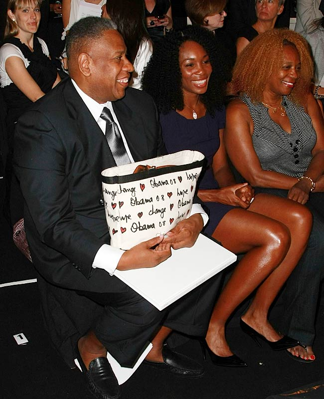 Venus Williams sat next to Vogue editor-at-large Andre Leon Talley at the Caroline Herrera show.