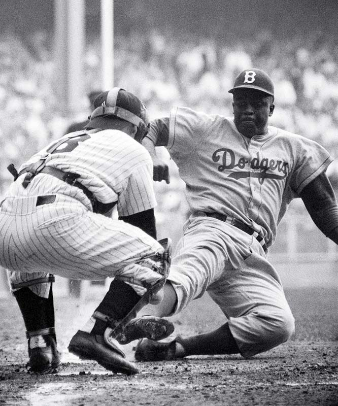 Robinson broke the color barrier in the major leagues on April 15, 1947. He went on to play 10 seasons for the Brooklyn Dodgers, winning the NL Rookie of the Year award in 1947 and MVP in 1949.
