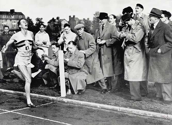 Approximately 3,000 spectators witnessed Bannister becoming the first man in recorded history to run the mile in under four minutes during a meet between British AAA and Oxford University at Iffley Road Track in Oxford.