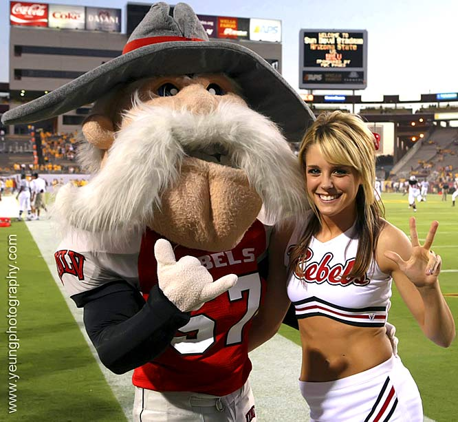 Meet Lindsay, a proud UNLV cheerleader. The senior Rebel loves techno jam sessions, Chinese food and Brett Favre. Want to find out more? Click on the 20 Questions link below.