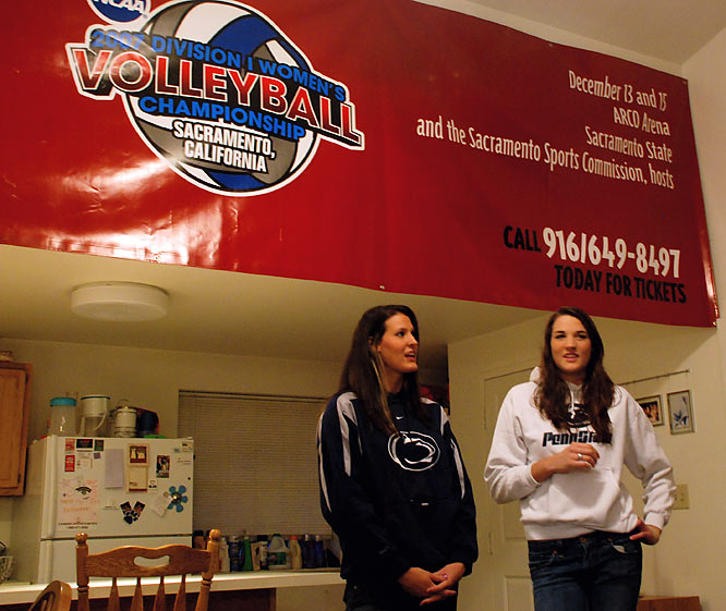 If you think nailing a giant banner to a wall is difficult, think about doing that on a surgically repaired ankle. Only days after having ankle surgery, Brown (right) nailed the women's volleyball national championship banner to the wall with Ream's help. Teammate Roberta Holehouse received the banner from a Penn State pep band member who had made the trip to Sacramento, Calif., for the NCAA finals in December.