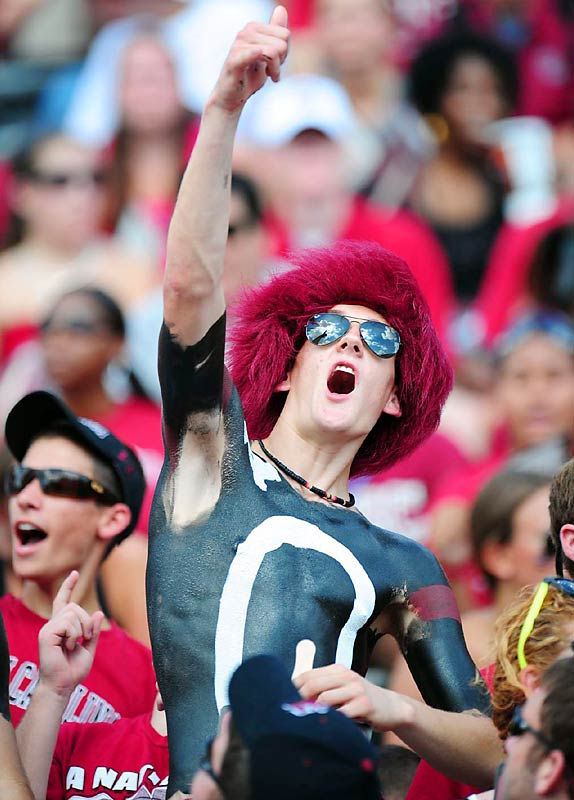 This South Carolina fan was thrilled to see his Gamecocks take the Georgia Bulldogs to the wire.