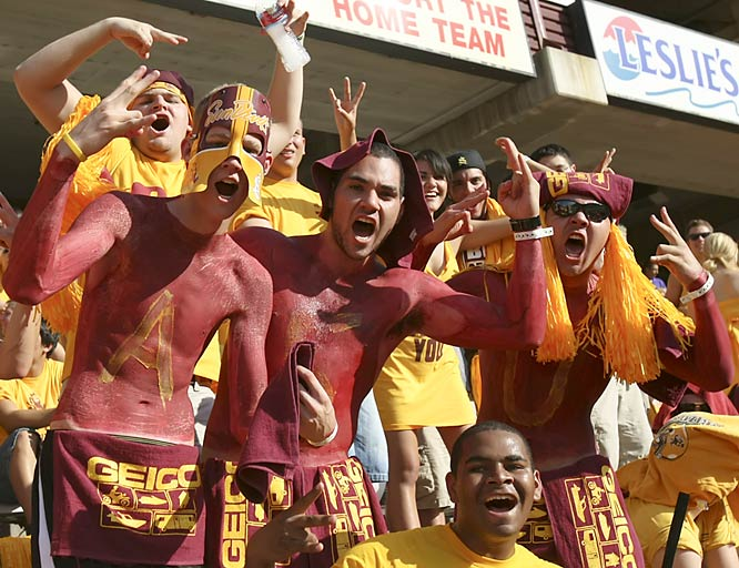 Body paint wasn't enough for these Sun Devils fans -- they needed the head gear, too.