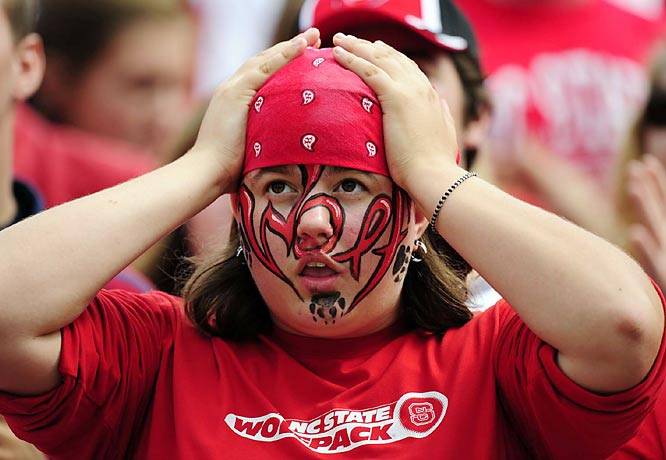 Thankfully, this Wolfpack fan wasn't sweating the game's outcome enough to ruin this impressive facepaint job.