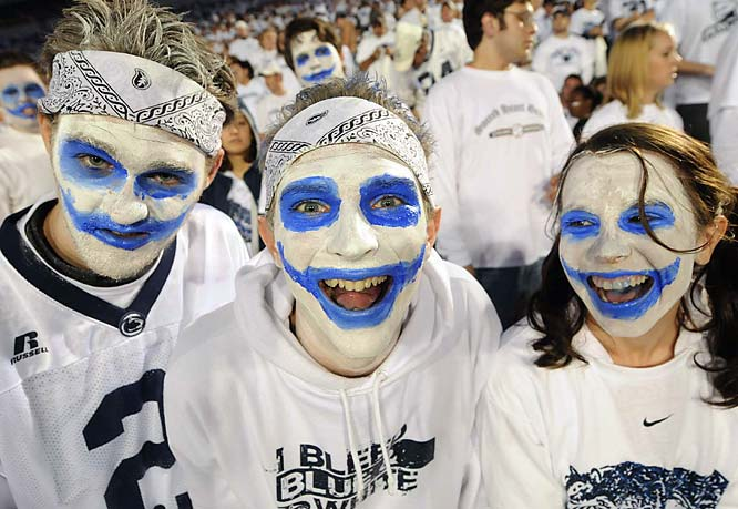 These Penn State fans used White Out night as an excuse to do their best (and creepiest) Joker impressions.