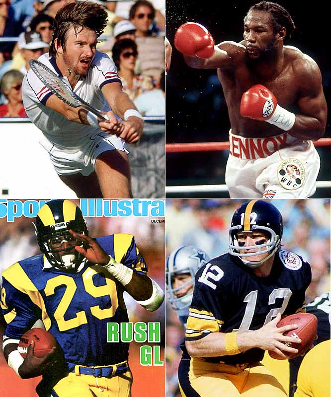 (Clockwise from top left)  1952 - Jimmy Connors 1965 - Lennox Lewis 1948 - Terry Bradshaw 1960 - Eric Dickerson
