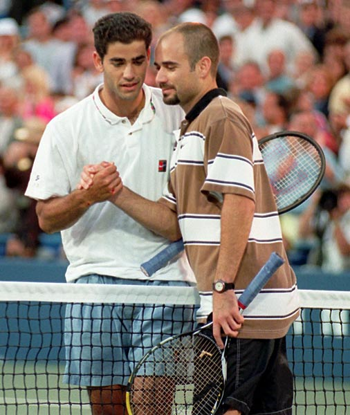 Pete Sampras beats Andre Agassi in four sets (6-4, 6-3, 4-6, 7-5) to capture his third of five U.S. Open titles.
