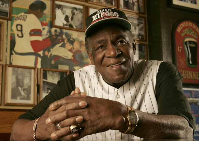At age 53, Minnie Minoso becomes the oldest player to get a hit in a regular season game as he singles in three at-bats as the designated hitter for White Sox.