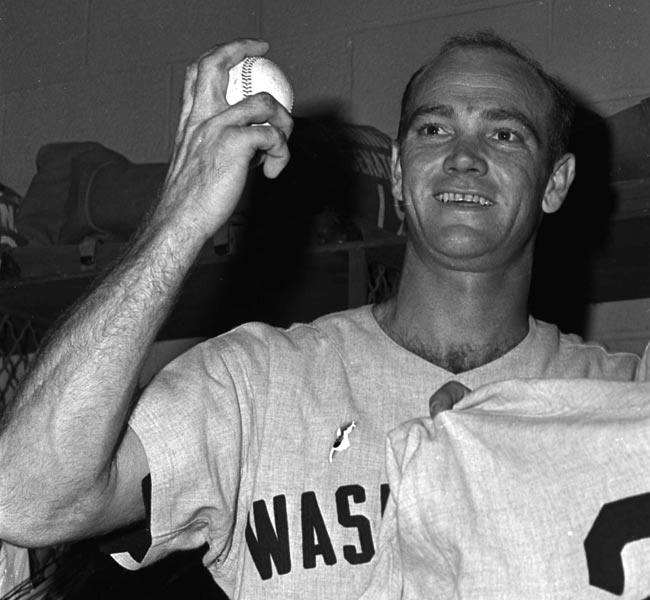 At Memorial Stadium, 27-year-old Senator pitcher Tom Cheney sets a major league mark for strikeouts in a single game by striking out 21 batters in complete-game 16 inning, 2-1 victory over the Orioles.