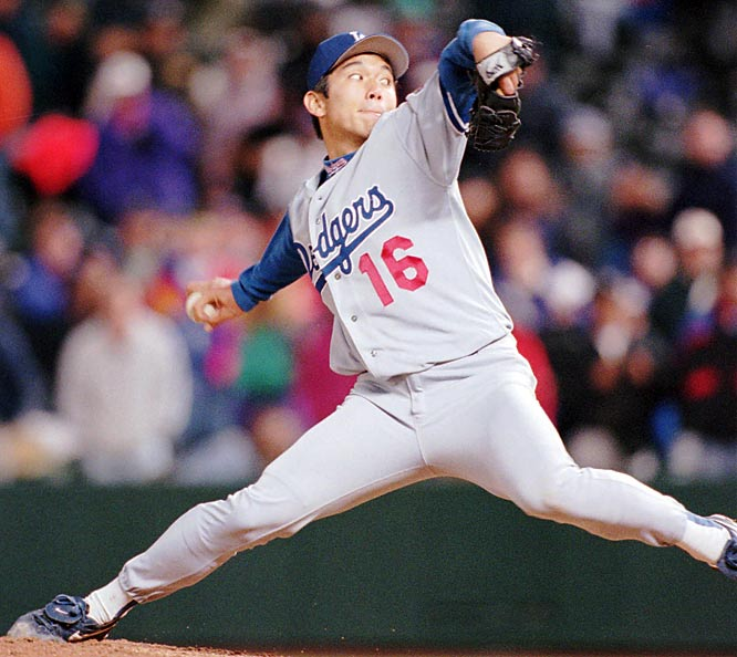In the thin air of Denver, Hideo Nomo throws his first of two career no-hitters to beat the Rockies, 9-0.