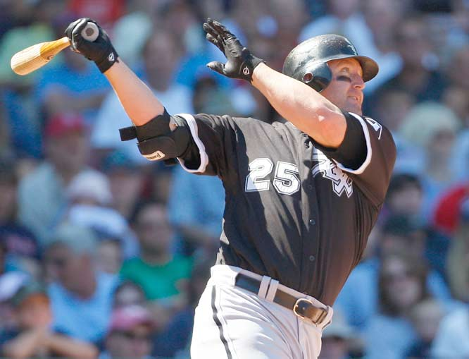 White Sox first baseman Jim Thome becomes only the second big leaguer in baseball history to hit 40 home runs with three different teams (Cleveland and Philadelphia). Alex Rodriguez also accomplished the milestone with the Mariners, Rangers and Yankees.