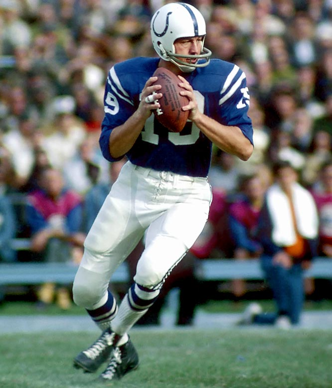 Baltimore quarterback Johnny Unitas throws four touchdown passes to surpass Y.A. Tittle as the NFL's career leader with 212. He finished his career with 290 touchdown passes.