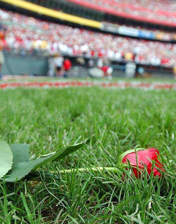 "In last game ever played at Cinergy Field, the Phillies complete a three-game sweep defeating the Reds, 4-3, in front of many of the team's former superstars except for the banished Pete Rose. The all-time hit leader, however, is not forgotten as Tom Browning, paints Rose's uniform number 14 on the pitcher's mound after the game with red spray paint and, as home plate is dug up and to be delivered next door to Great American Ball Park, the crowd begins to chant, ""Pete, Pete""."