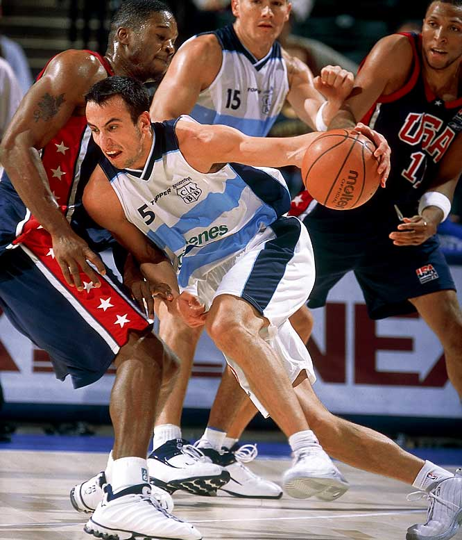 Led by Manu Ginobili,  Argentina defeats the United States, 87-80, in the World Basketball Championships at Indianapolis. It's the first loss for a U.S. team in 59 games since the Americans began sending NBA players to international tournaments in 1992.