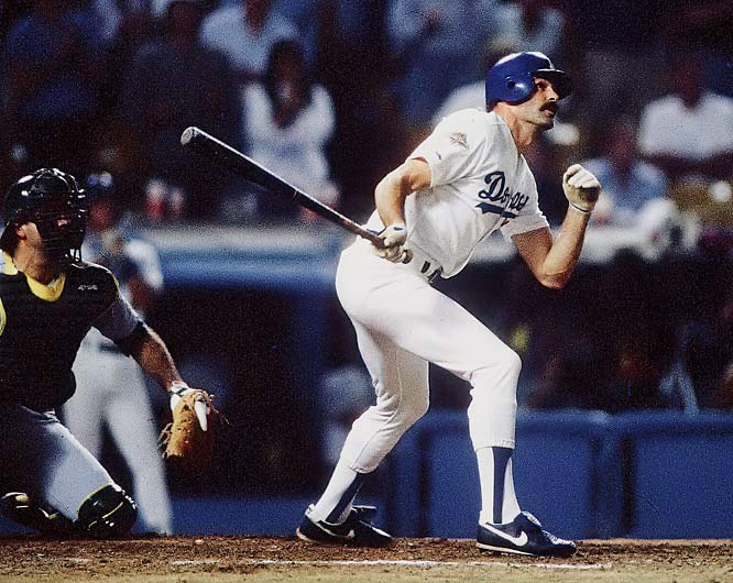 Not expected to play after severely injuring both legs in the NLCS, the NL MVP made good on his one at-bat in the 1988 World Series, hitting a pinch-hit, game-winning home run off of Dennis Eckersley.