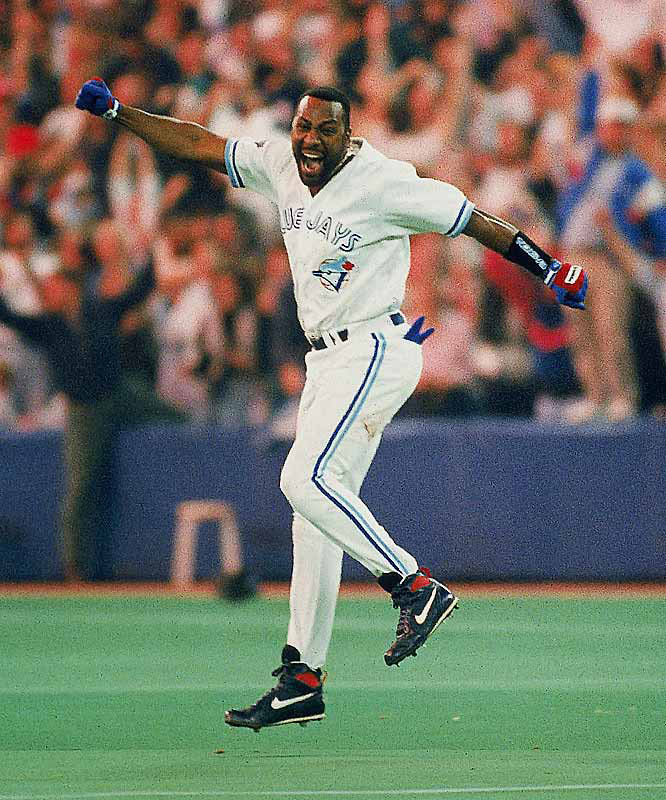 Joe Carter became just the second person to end a World Series on a home run when he hit a three-run home run in the bottom of the ninth of Game 6, leaping around the bases as the Blue Jays celebrated their second-straight World Series win in 1993.