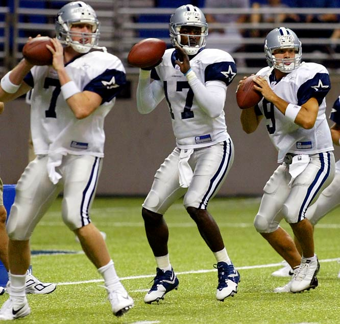 Though Romo went unselected in the 2003 NFL Draft, his disappointment would prove short-lived. The Dallas Cowboys inked the Wisconsin native hours after the draft concluded. He entered camp as the third-string quarterback behind Quincy Carter (center) and Chad Hutchinson (left).
