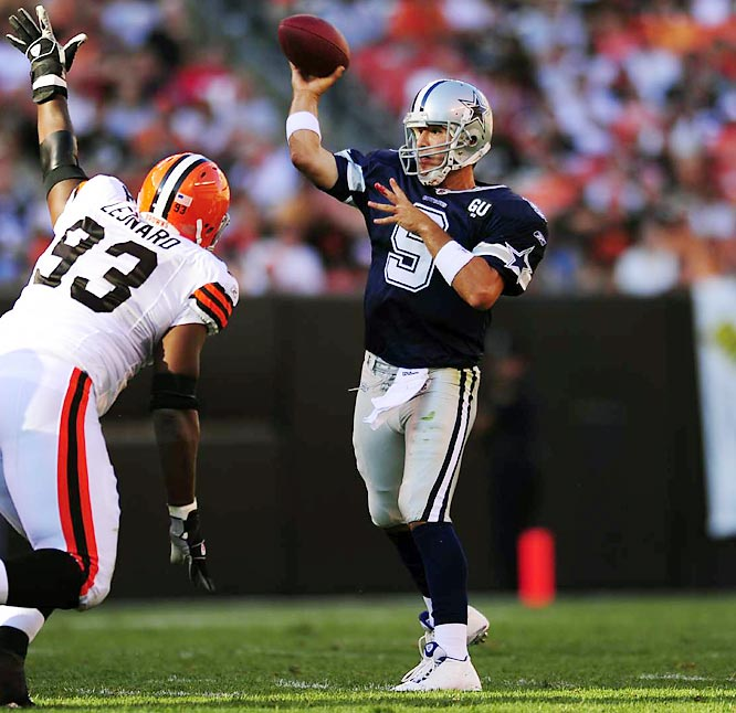 Romo needed stitches and an X-ray, but a bloodied chin couldn't stop the third-year starter from tossing for 320 yards in a season-opening 28-10 rout of the Browns. By season's end, the Cowboys needed to defeat the Eagles to nab the final wild-card spot, but lost 44-6. It dropped Romo's record to 5-8 in December games and gave his critics ammunition.