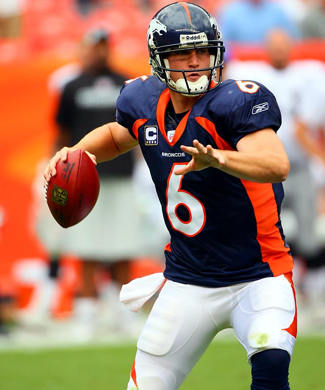 The third year pro has been solid during his first 21 games as the Broncos' starter (completed 62.6% of his passes for 4,498 yards with 29 touchdowns and 19 interceptions), but he has a 9-12 record as a starter, and the team has failed to make the playoffs in consecutive seasons. However, the team has added speed to the line up, and Mike Shanahan is trusting Cutler with more responsibility at the line. Thus, the pressure is on Cutler to deliver with a big season in 2008.