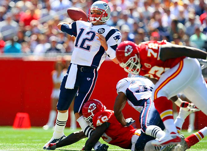 Tom Brady's left leg buckles on the tackle by Chiefs safety Bernard Pollard midway through the first quarter.  The Patriots went on to win 17-10 under backup quarterback Matt Cassel.  Brady will likely miss the rest of the season with a knee injury.