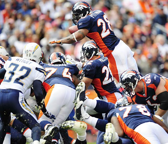 Michael Pittman leaps into the end zone for a first-quarter touchdown against the Chargers. The Broncos defeated San Diego 39-38 in the thriller of the week.