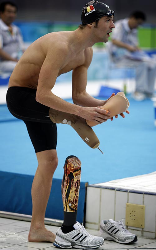 Belgium's Sven Decaesstecker after competing in the 100-meter breaststroke.