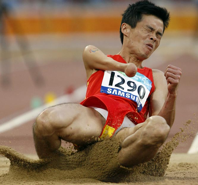 China's Wu Yancong takes part in the  long jump.