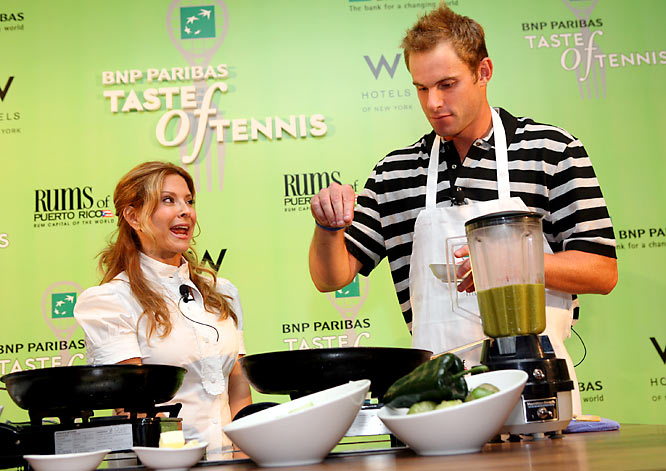 "While he admits that his fiancé and SI Swimsuit model Brooklyn Decker ""struggles in the cooking department"" (does that really matter?) don't look for Roddick to be winning over any fans in the cooking department. The former U.S. Open champion, who is seeded eighth in the tournament this year, recently got a cooking lesson from Food Network star Ingrid Hoffman at the BNP Paribas Taste of Tennis event before the Open but told us he was still a ""horrendous"" cook."